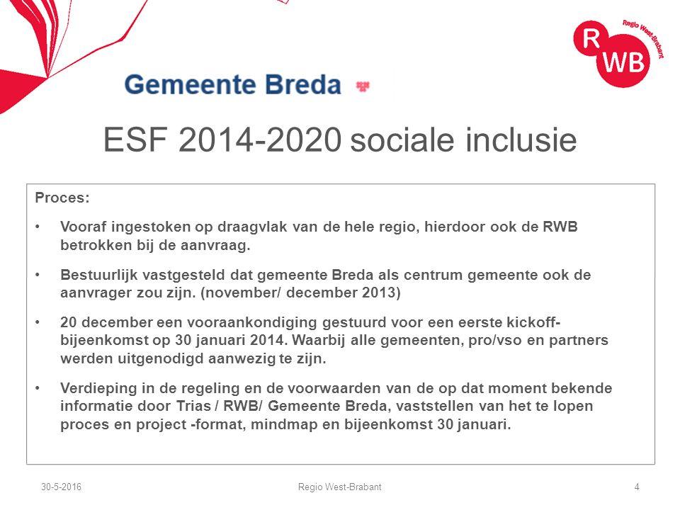 ESF 2014-2020 sociale inclusie Proces: Vooraf ingestoken op draagvlak van de hele regio, hierdoor ook de RWB betrokken bij de aanvraag. Bestuurlijk va