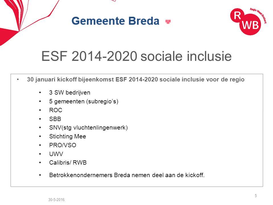 ESF 2014-2020 sociale inclusie 30 januari kickoff bijeenkomst ESF 2014-2020 sociale inclusie voor de regio 3 SW bedrijven 5 gemeenten (subregio's) ROC