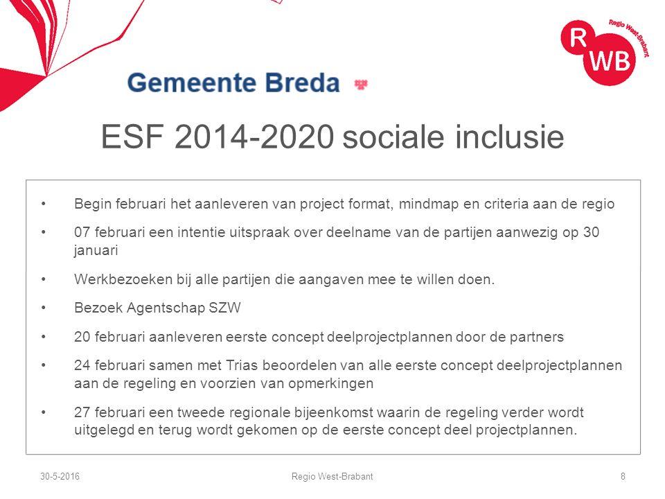 ESF 2014-2020 sociale inclusie Begin februari het aanleveren van project format, mindmap en criteria aan de regio 07 februari een intentie uitspraak o