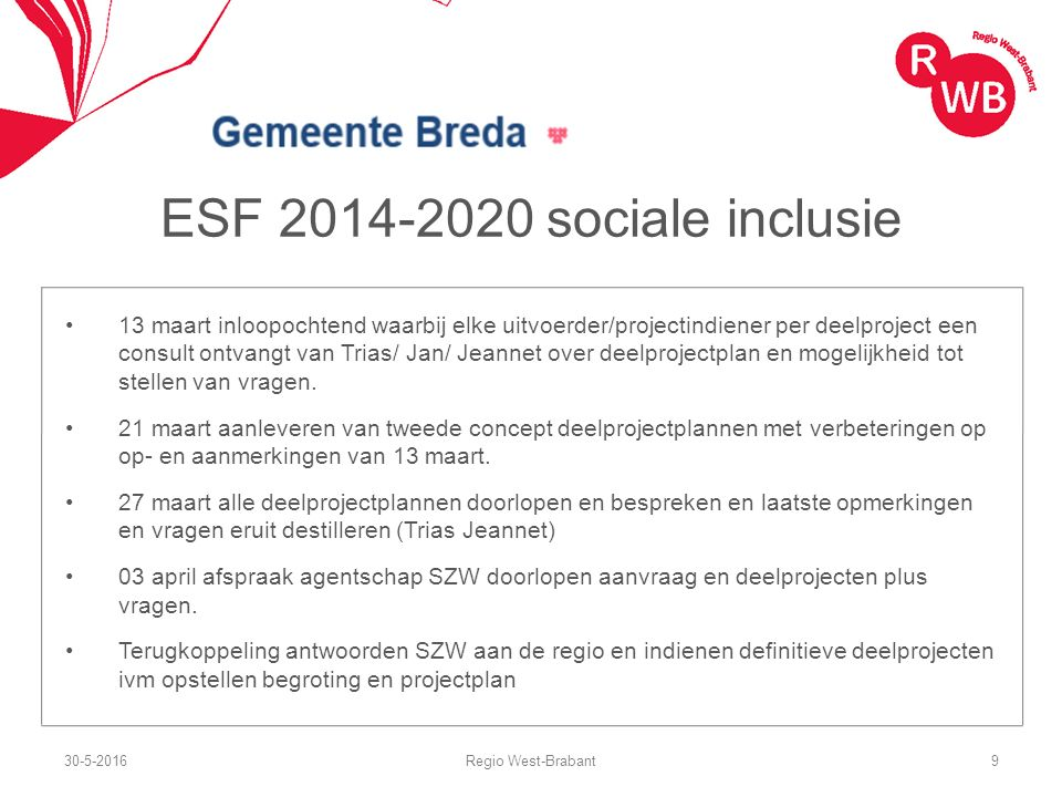 ESF 2014-2020 sociale inclusie 13 maart inloopochtend waarbij elke uitvoerder/projectindiener per deelproject een consult ontvangt van Trias/ Jan/ Jea
