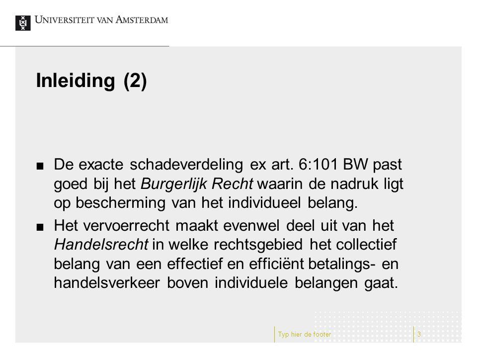 Inleiding (2) De exacte schadeverdeling ex art.