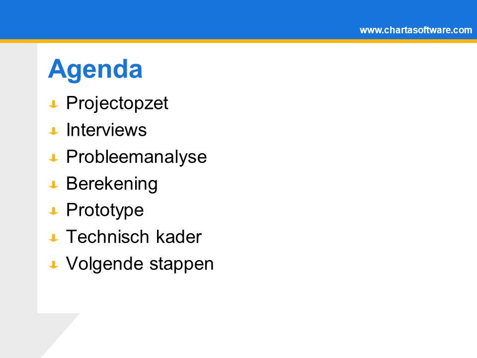 www.chartasoftware.com Agenda Projectopzet Interviews Probleemanalyse Berekening Prototype Technisch kader Volgende stappen