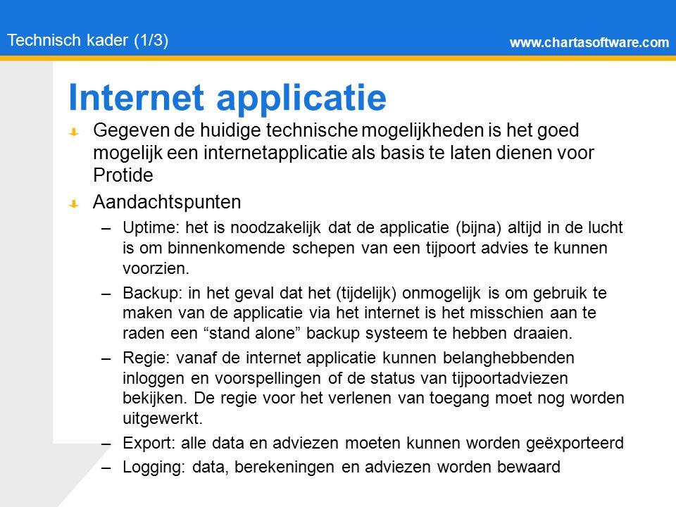 www.chartasoftware.com Internet applicatie Technisch kader (1/3) Gegeven de huidige technische mogelijkheden is het goed mogelijk een internetapplicat