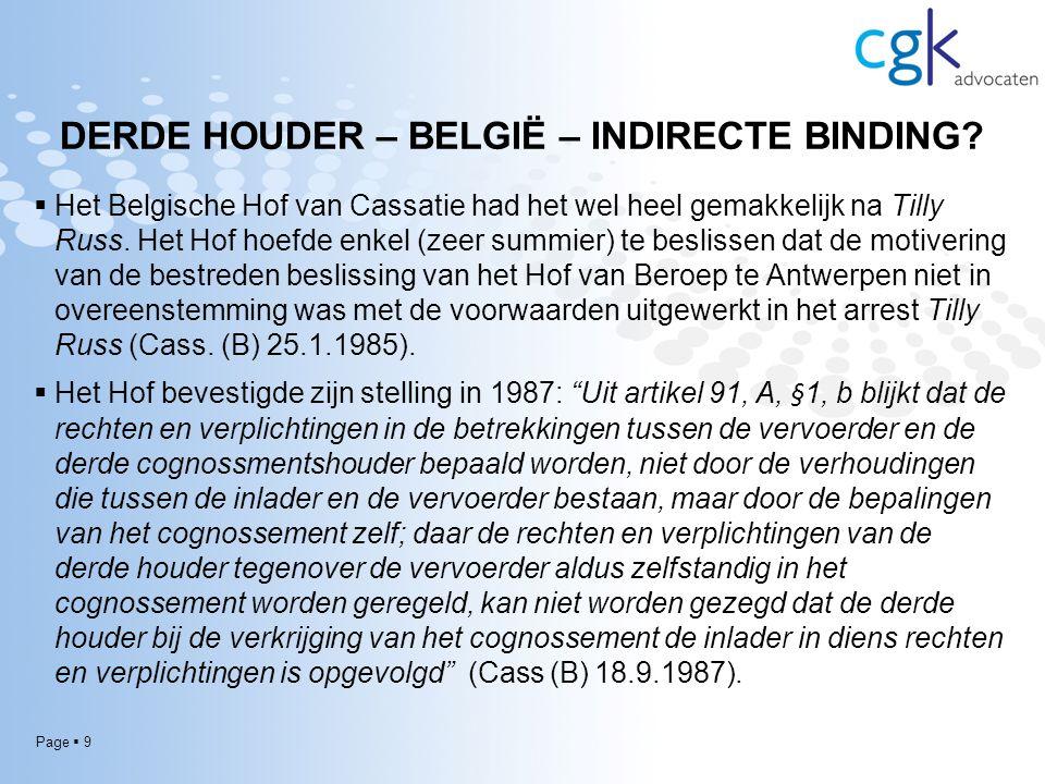 Page  9 DERDE HOUDER – BELGIË – INDIRECTE BINDING.