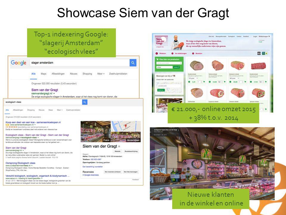 """Showcase Siem van der Gragt Top-1 indexering Google: """"slagerij Amsterdam"""" """"ecologisch vlees"""" € 21.000,- online omzet 2015 + 38% t.o.v. 2014 Nieuwe kla"""