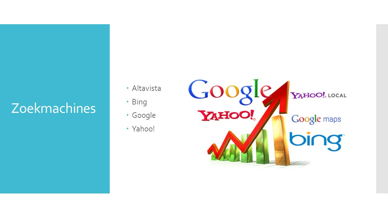 Zoekmachines  Altavista  Bing  Google  Yahoo!