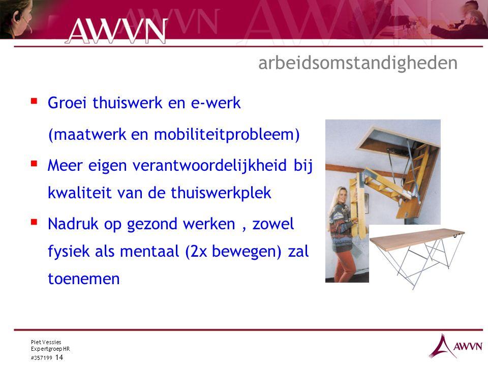 Piet Vessies Expertgroep HR #357199 14 arbeidsomstandigheden  Groei thuiswerk en e-werk (maatwerk en mobiliteitprobleem)  Meer eigen verantwoordelijkheid bij kwaliteit van de thuiswerkplek  Nadruk op gezond werken, zowel fysiek als mentaal (2x bewegen) zal toenemen