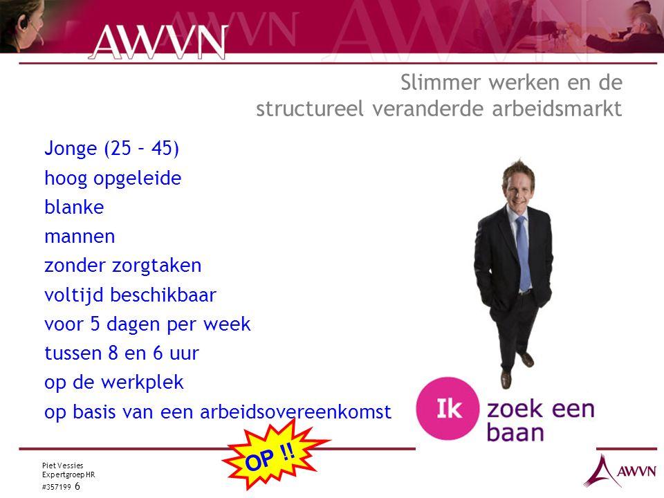 Piet Vessies Expertgroep HR #357199 6 Slimmer werken en de structureel veranderde arbeidsmarkt Jonge (25 – 45) hoog opgeleide blanke mannen zonder zorgtaken voltijd beschikbaar voor 5 dagen per week tussen 8 en 6 uur op de werkplek op basis van een arbeidsovereenkomst OP !!