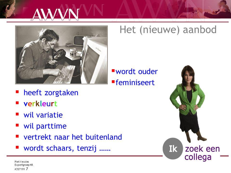 Piet Vessies Expertgroep HR #357199 7 Het (nieuwe) aanbod  heeft zorgtaken  verkleurt  wil variatie  wil parttime  vertrekt naar het buitenland  wordt schaars, tenzij ……  wordt ouder  feminiseert