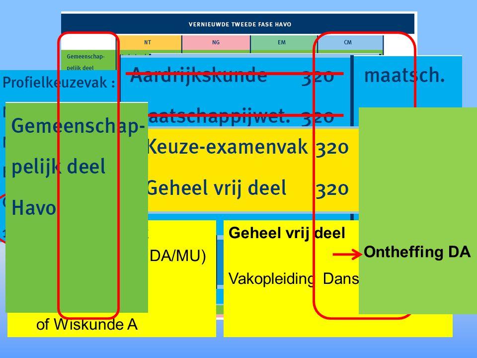 (Duits of Frans) Keuze examenvak (Niet verplicht voor DA/MU) of Duits of Frans of Wiskunde A Geheel vrij deel Vakopleiding Dans/Muziek/BK Ontheffing DA