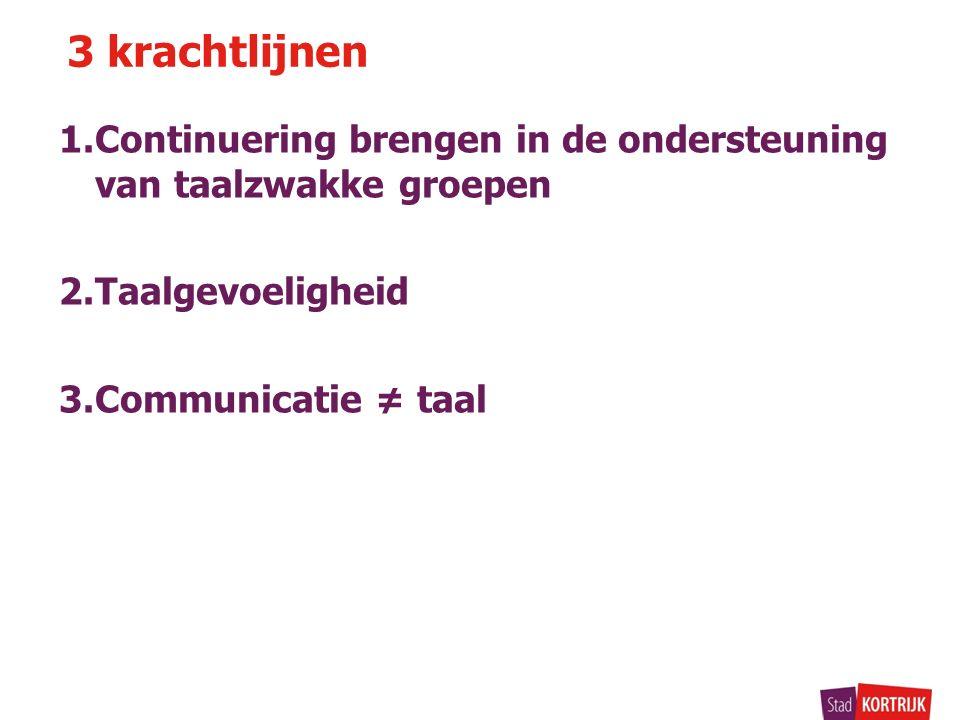 1.Continuering brengen in de ondersteuning van taalzwakke groepen 2.Taalgevoeligheid 3.Communicatie ≠ taal 3 krachtlijnen