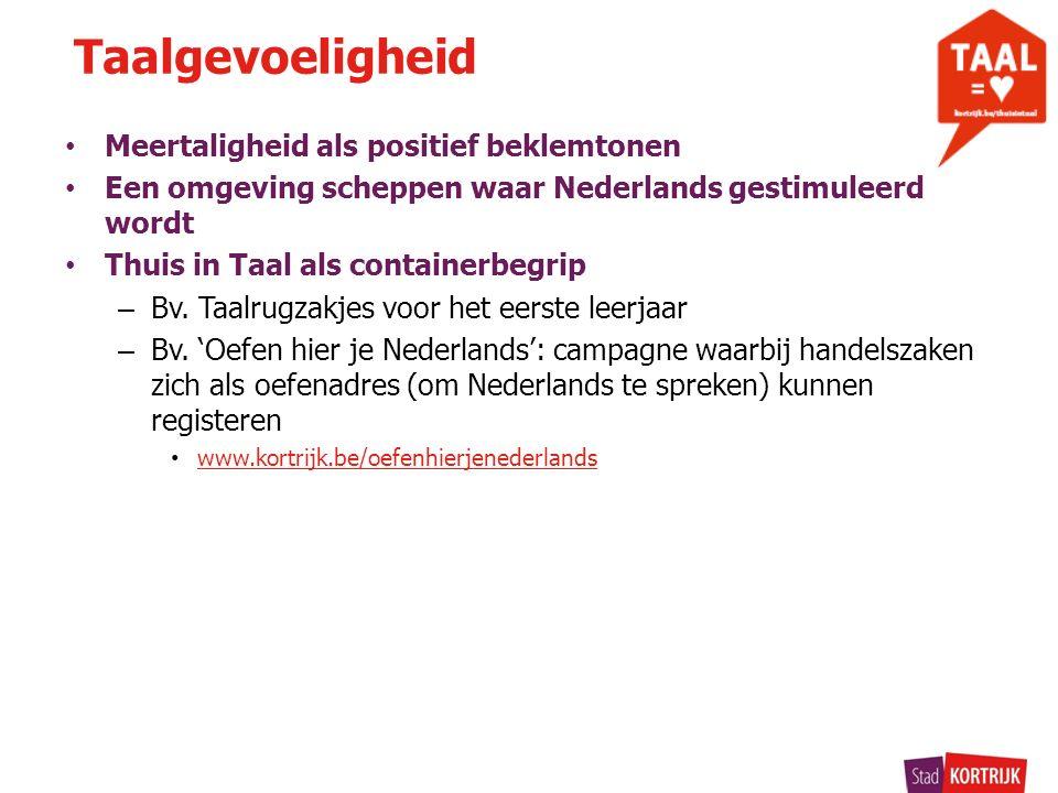 Meertaligheid als positief beklemtonen Een omgeving scheppen waar Nederlands gestimuleerd wordt Thuis in Taal als containerbegrip – Bv.