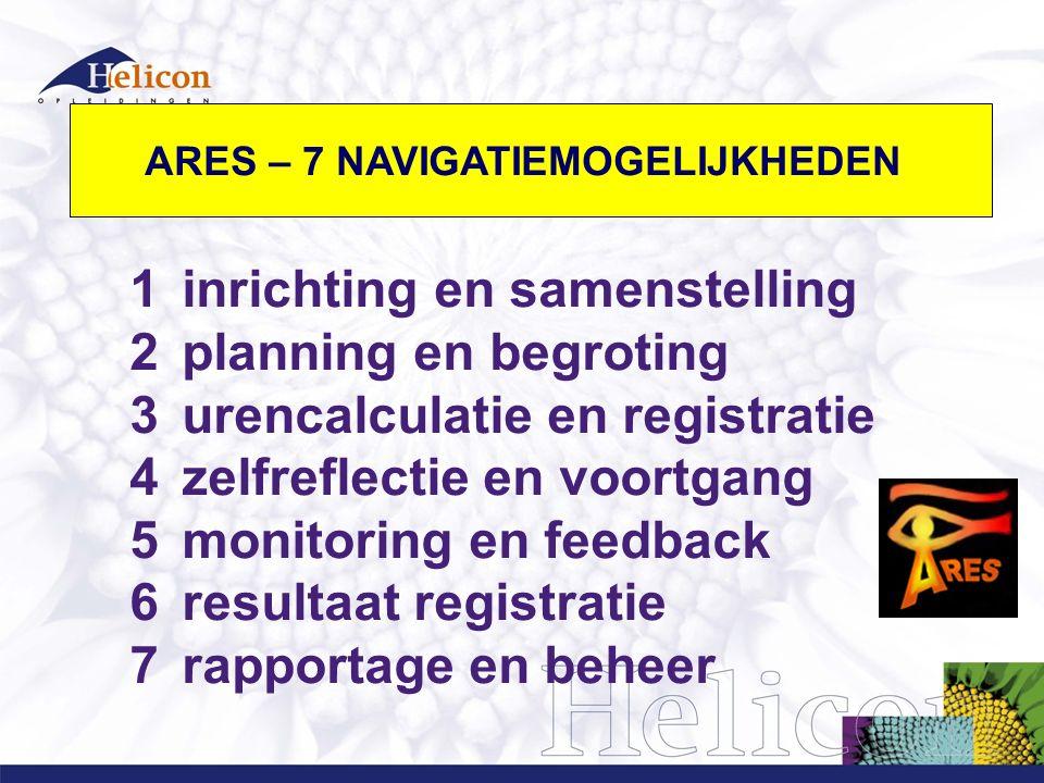 1inrichting en samenstelling 2planning en begroting 3urencalculatie en registratie 4zelfreflectie en voortgang 5monitoring en feedback 6resultaat registratie 7rapportage en beheer ARES –7 NAVIGATIE MOGELIJKHEDEN