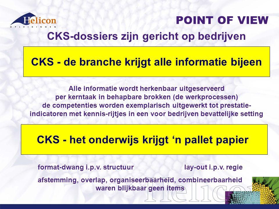 CKS-dossiers zijn gericht op bedrijven Alle informatie wordt herkenbaar uitgeserveerd per kerntaak in behapbare brokken (de werkprocessen) de competen