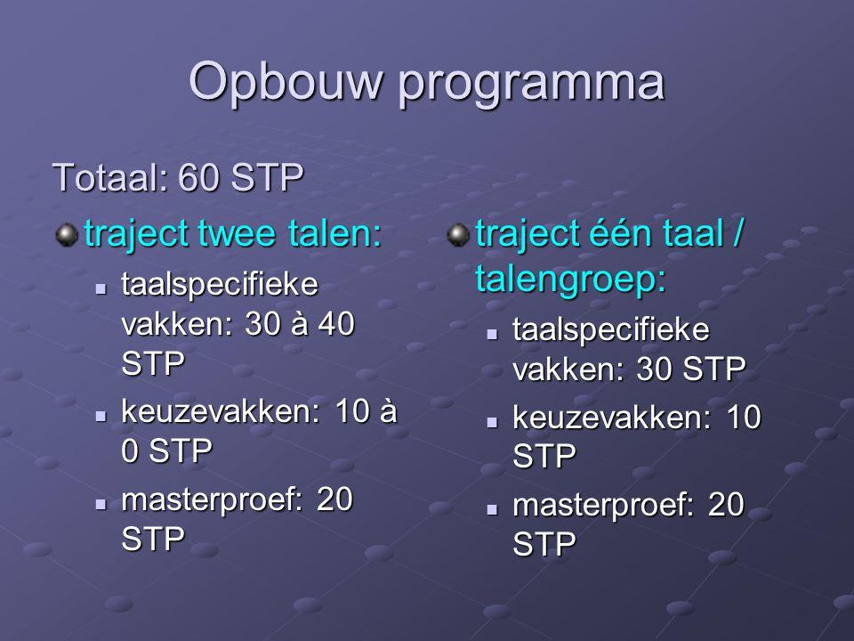 Opbouw programma Totaal: 60 STP traject twee talen: taalspecifieke vakken: 30 à 40 STP taalspecifieke vakken: 30 à 40 STP keuzevakken: 10 à 0 STP keuzevakken: 10 à 0 STP masterproef: 20 STP masterproef: 20 STP traject één taal / talengroep: taalspecifieke vakken: 30 STP keuzevakken: 10 STP masterproef: 20 STP