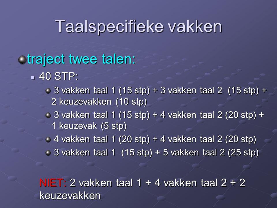 Taalspecifieke vakken traject twee talen: 40 STP: 40 STP: 3 vakken taal 1 (15 stp) + 3 vakken taal 2 (15 stp) + 2 keuzevakken (10 stp) 3 vakken taal 1 (15 stp) + 3 vakken taal 2 (15 stp) + 2 keuzevakken (10 stp) 3 vakken taal 1 (15 stp) + 4 vakken taal 2 (20 stp) + 1 keuzevak (5 stp) 3 vakken taal 1 (15 stp) + 4 vakken taal 2 (20 stp) + 1 keuzevak (5 stp) 4 vakken taal 1 (20 stp) + 4 vakken taal 2 (20 stp) 4 vakken taal 1 (20 stp) + 4 vakken taal 2 (20 stp) 3 vakken taal 1 (15 stp) + 5 vakken taal 2 (25 stp) 3 vakken taal 1 (15 stp) + 5 vakken taal 2 (25 stp) NIET: 2 vakken taal 1 + 4 vakken taal 2 + 2 keuzevakken