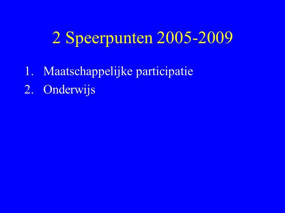 2 Speerpunten 2005-2009 1.Maatschappelijke participatie 2.Onderwijs