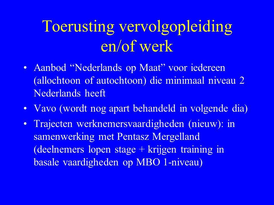 Toerusting vervolgopleiding en/of werk Aanbod Nederlands op Maat voor iedereen (allochtoon of autochtoon) die minimaal niveau 2 Nederlands heeft Vavo (wordt nog apart behandeld in volgende dia) Trajecten werknemersvaardigheden (nieuw): in samenwerking met Pentasz Mergelland (deelnemers lopen stage + krijgen training in basale vaardigheden op MBO 1-niveau)