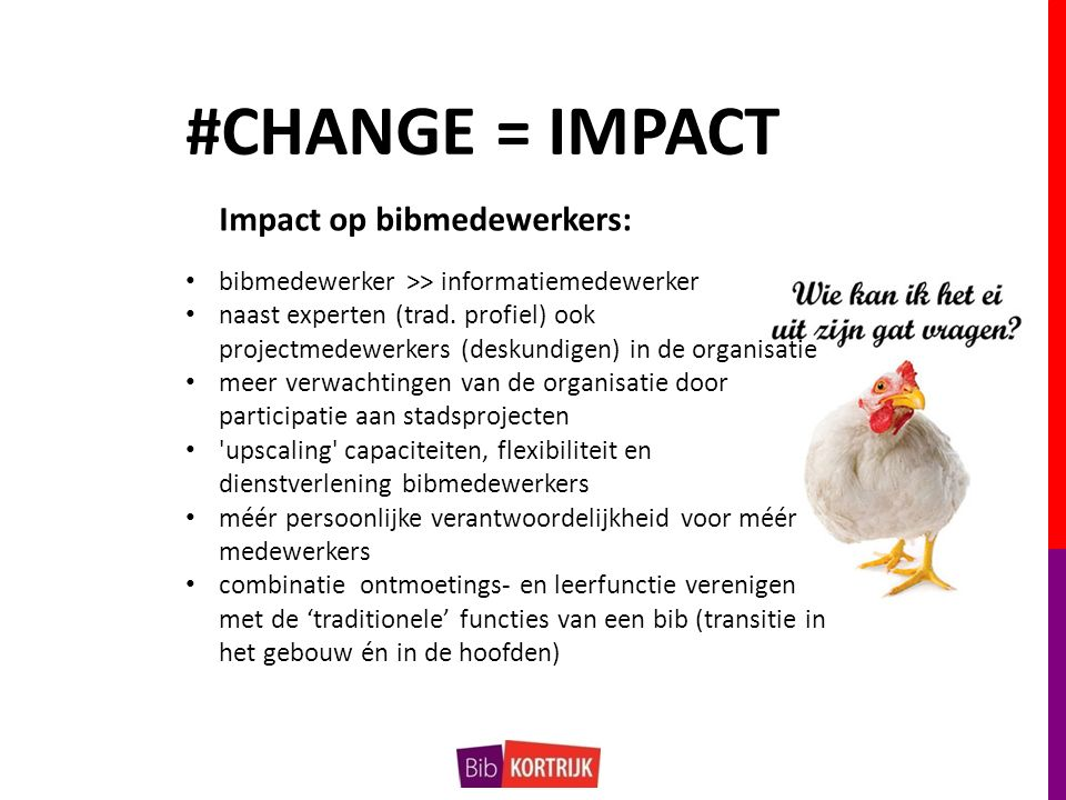 #CHANGE = IMPACT Impact op bibmedewerkers: bibmedewerker >> informatiemedewerker naast experten (trad.