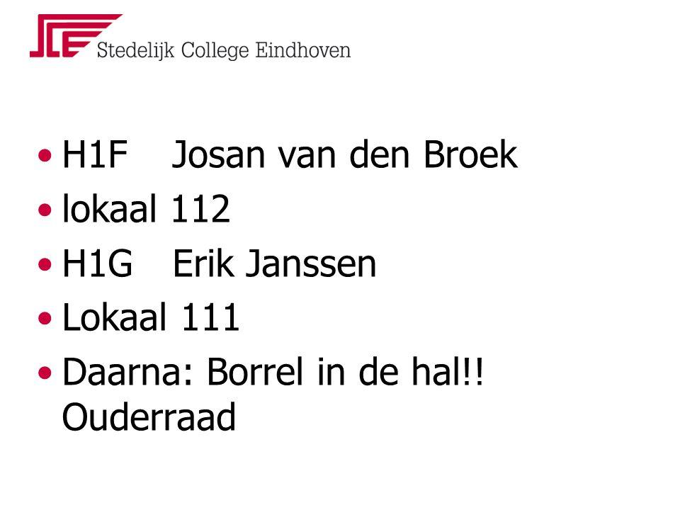 H1F Josan van den Broek lokaal 112 H1GErik Janssen Lokaal 111 Daarna: Borrel in de hal!! Ouderraad