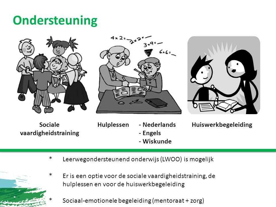 Ondersteuning Sociale vaardigheidstraining Hulplessen - Nederlands - Engels - Wiskunde Huiswerkbegeleiding * Leerwegondersteunend onderwijs (LWOO) is mogelijk *Er is een optie voor de sociale vaardigheidstraining, de hulplessen en voor de huiswerkbegeleiding *Sociaal-emotionele begeleiding (mentoraat + zorg)