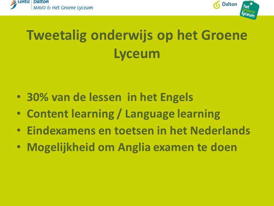 Tweetalig onderwijs op het Groene Lyceum 30% van de lessen in het Engels Content learning / Language learning Eindexamens en toetsen in het Nederlands Mogelijkheid om Anglia examen te doen