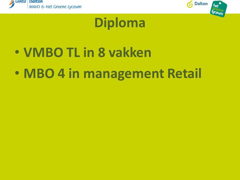 Diploma VMBO TL in 8 vakken MBO 4 in management Retail