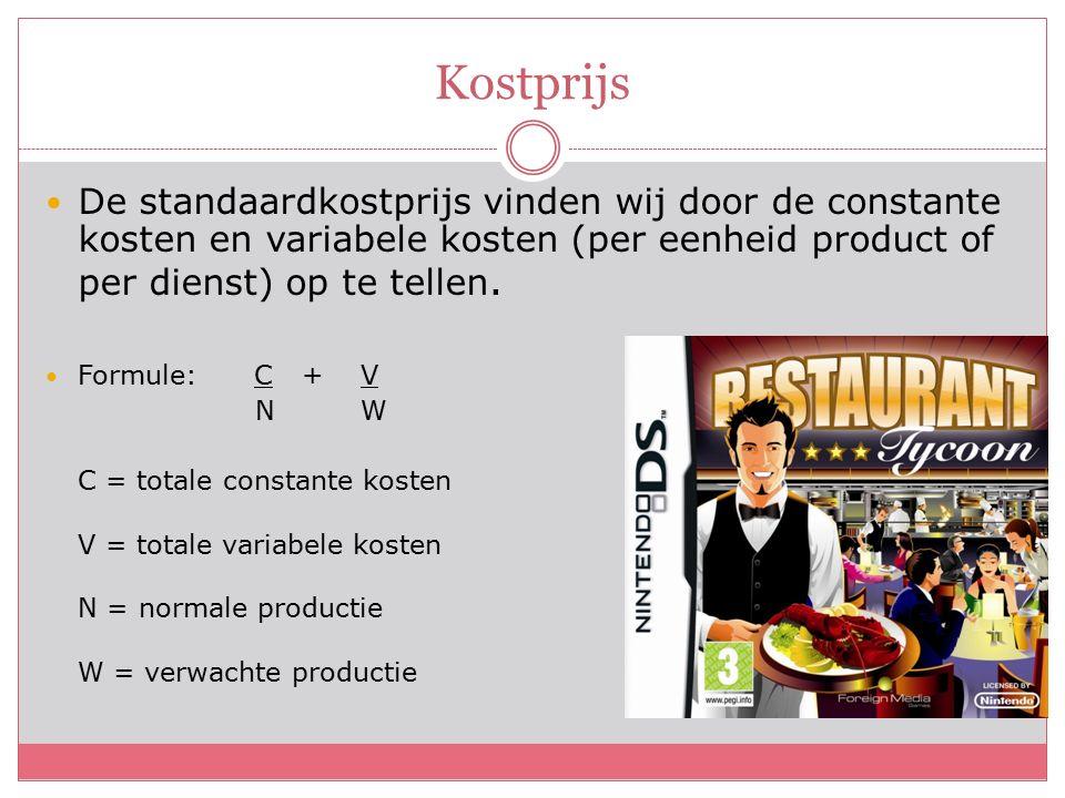 Kostprijs De standaardkostprijs vinden wij door de constante kosten en variabele kosten (per eenheid product of per dienst) op te tellen.