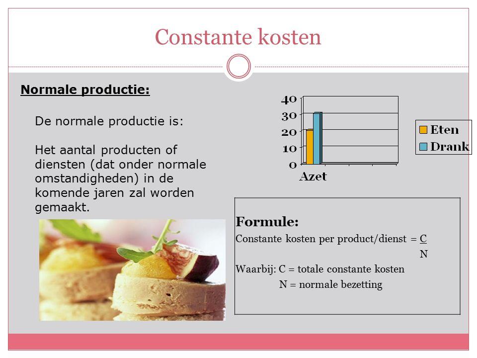 Constante kosten Normale productie: De normale productie is: Het aantal producten of diensten (dat onder normale omstandigheden) in de komende jaren zal worden gemaakt.