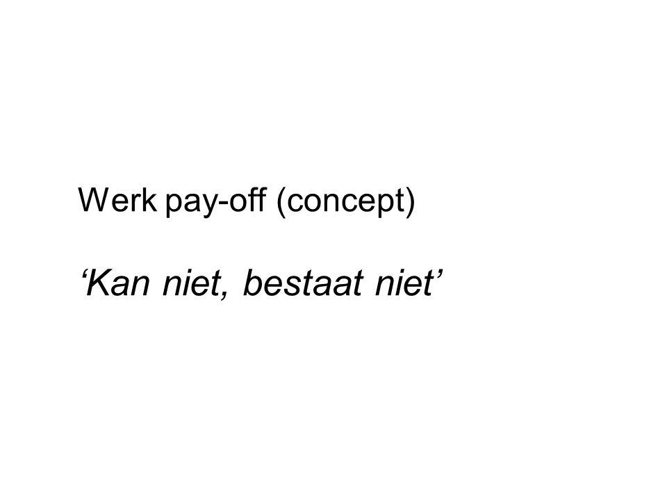 Werk pay-off (concept) 'Kan niet, bestaat niet'