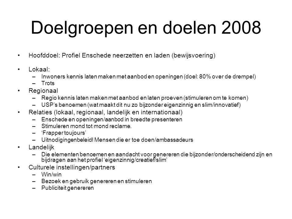 Doelgroepen en doelen 2008 Hoofddoel: Profiel Enschede neerzetten en laden (bewijsvoering) Lokaal: –Inwoners kennis laten maken met aanbod en openingen (doel: 80% over de drempel) –Trots Regionaal –Regio kennis laten maken met aanbod en laten proeven (stimuleren om te komen) –USP's benoemen (wat maakt dit nu zo bijzonder eigenzinnig en slim/innovatief) Relaties (lokaal, regionaal, landelijk en internationaal) –Enschede en openingen/aanbod in breedte presenteren –Stimuleren mond tot mond reclame.