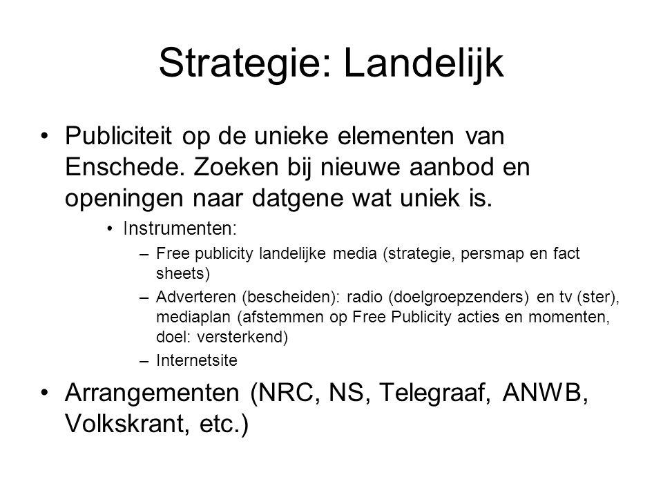 Strategie: Landelijk Publiciteit op de unieke elementen van Enschede.