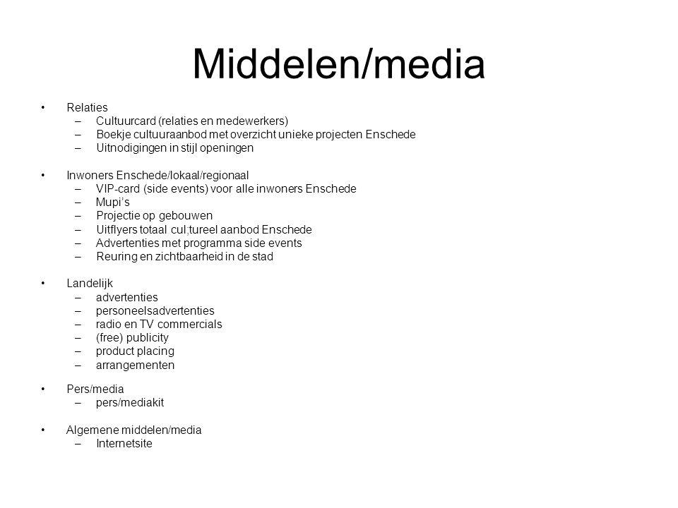 Middelen/media Relaties –Cultuurcard (relaties en medewerkers) –Boekje cultuuraanbod met overzicht unieke projecten Enschede –Uitnodigingen in stijl openingen Inwoners Enschede/lokaal/regionaal –VIP-card (side events) voor alle inwoners Enschede –Mupi's –Projectie op gebouwen –Uitflyers totaal cul;tureel aanbod Enschede –Advertenties met programma side events –Reuring en zichtbaarheid in de stad Landelijk –advertenties –personeelsadvertenties –radio en TV commercials –(free) publicity –product placing –arrangementen Pers/media –pers/mediakit Algemene middelen/media –Internetsite