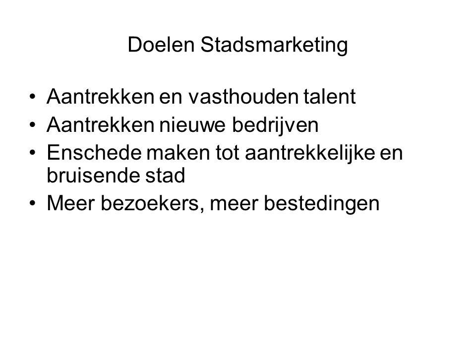 Doelen Stadsmarketing Aantrekken en vasthouden talent Aantrekken nieuwe bedrijven Enschede maken tot aantrekkelijke en bruisende stad Meer bezoekers, meer bestedingen