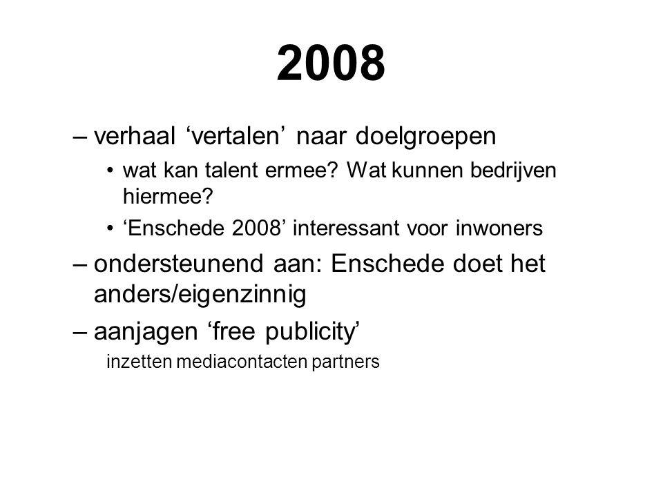 2008 –verhaal 'vertalen' naar doelgroepen wat kan talent ermee.