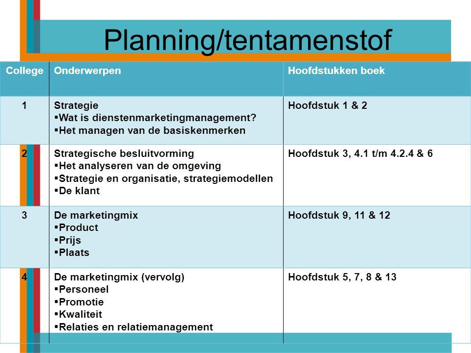 Planning/tentamenstof CollegeOnderwerpenHoofdstukken boek 1Strategie  Wat is dienstenmarketingmanagement?  Het managen van de basiskenmerken Hoofdst