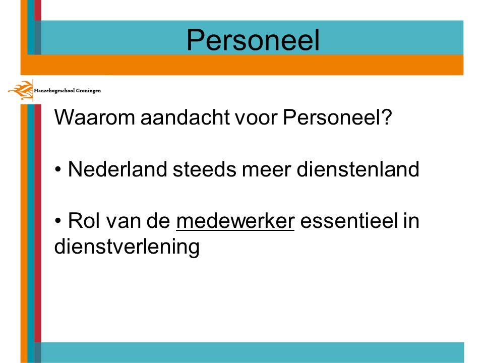 Personeel Waarom aandacht voor Personeel? Nederland steeds meer dienstenland Rol van de medewerker essentieel in dienstverlening
