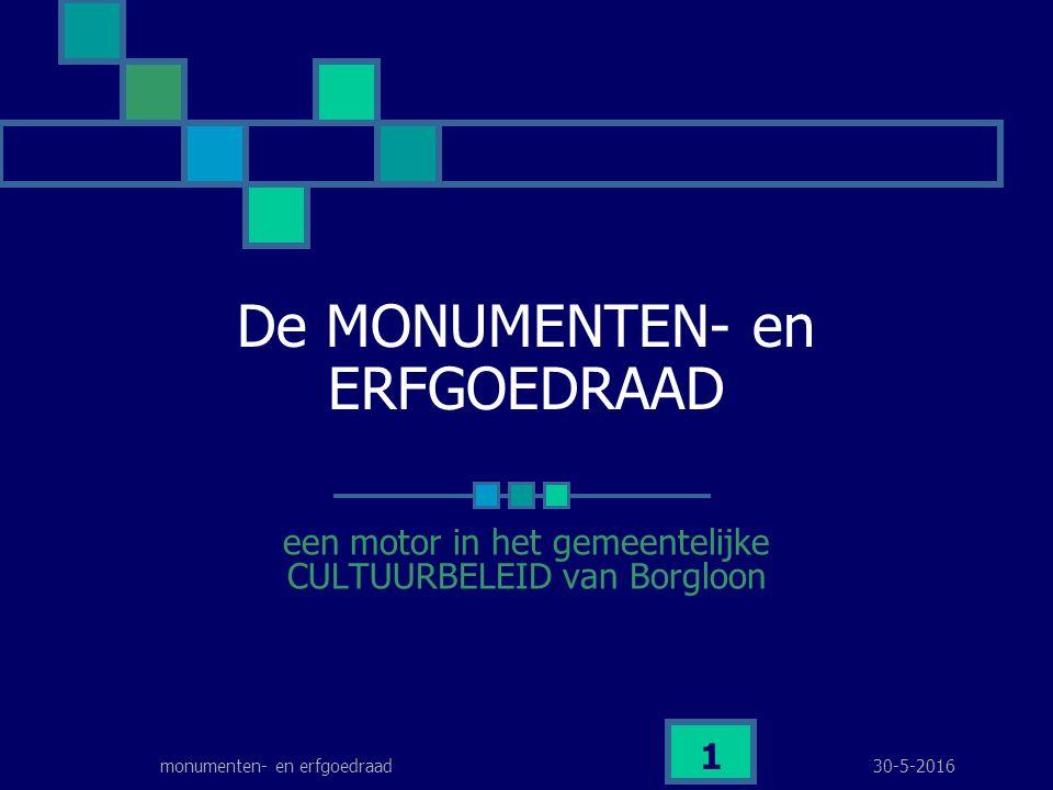 30-5-2016monumenten- en erfgoedraad 1 De MONUMENTEN- en ERFGOEDRAAD een motor in het gemeentelijke CULTUURBELEID van Borgloon