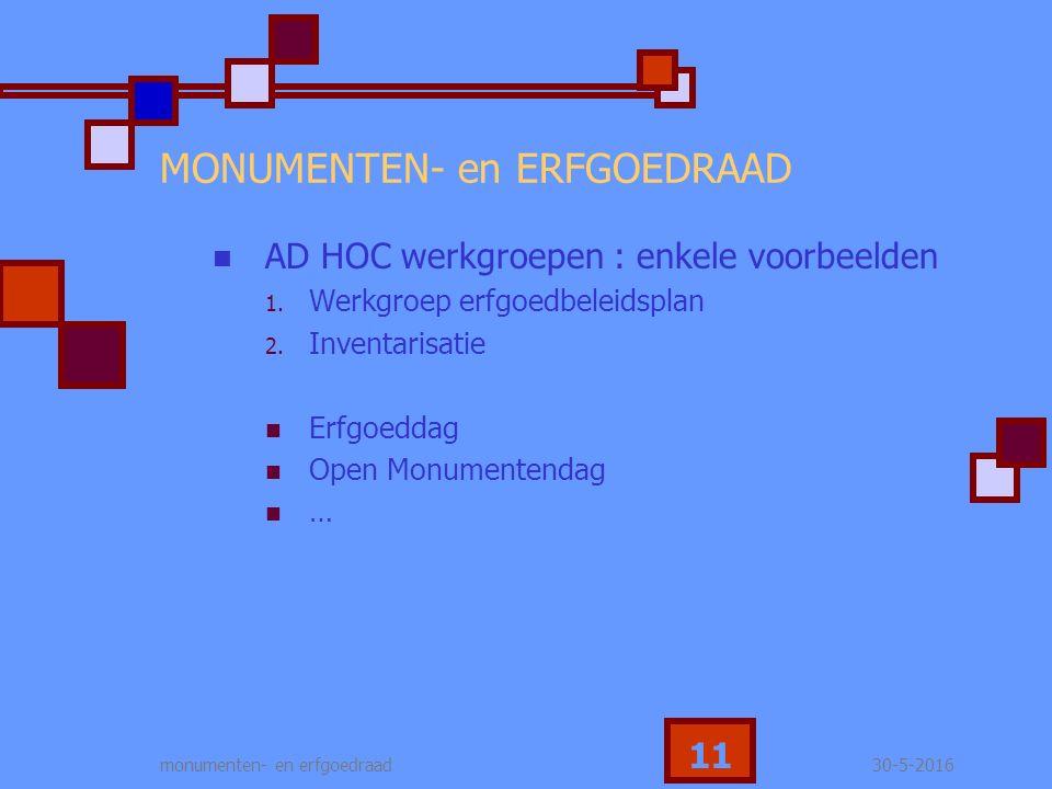 30-5-2016monumenten- en erfgoedraad 11 MONUMENTEN- en ERFGOEDRAAD AD HOC werkgroepen : enkele voorbeelden 1.