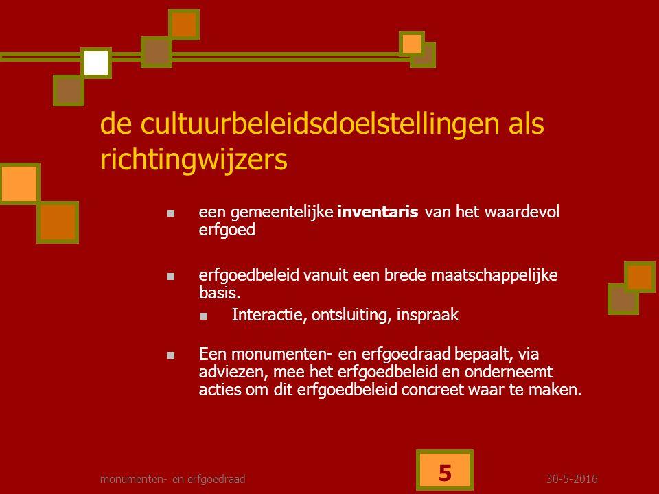 30-5-2016monumenten- en erfgoedraad 6 specifiek erfgoedbeleidsplan met een duidelijke visie, gekoppeld aan concrete doelstellingen en actiemiddelen De inwoner van Borgloon is betrokken bij en begaan met het erfgoed - informatieverstrekking - deskundig advies - open communicatie - sensibiliseren en stimuleren, de inwoner aanzetten, motiveren tot 'bekommernis' - ontsluiten van cultureel erfgoed de cultuurbeleidsdoelstellingen als richtingwijzers