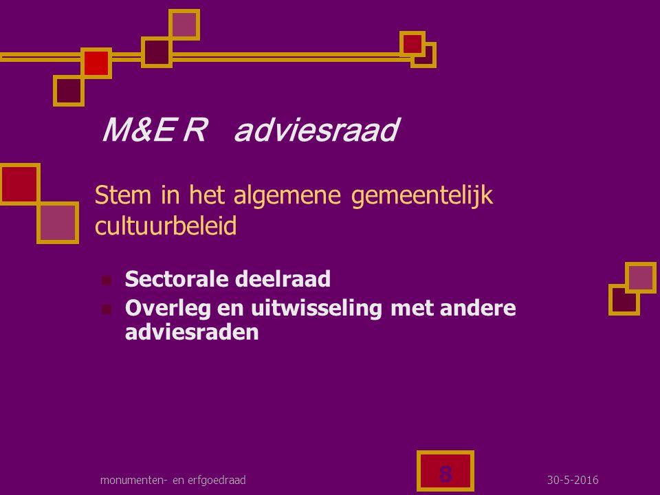 30-5-2016monumenten- en erfgoedraad 9 M&E R werkgroep Het eigen erfgoedbeleid WAAR MAKEN via concrete acties
