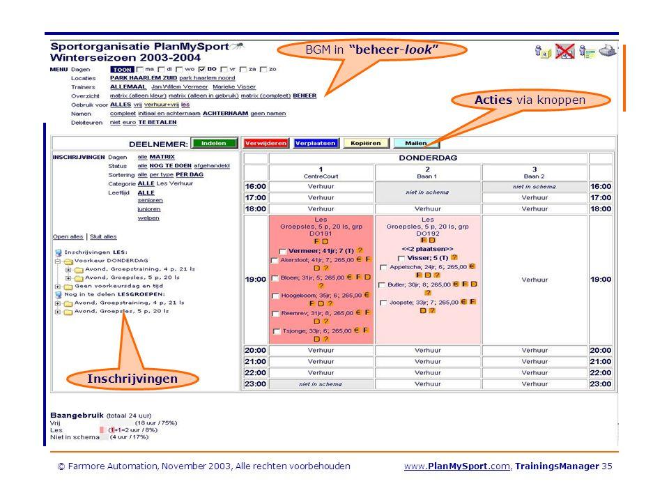 © Farmore Automation, November 2003, Alle rechten voorbehoudenwww.PlanMySport.com, TrainingsManager 35 BGM in beheer-look Acties via knoppen Inschrijvingen