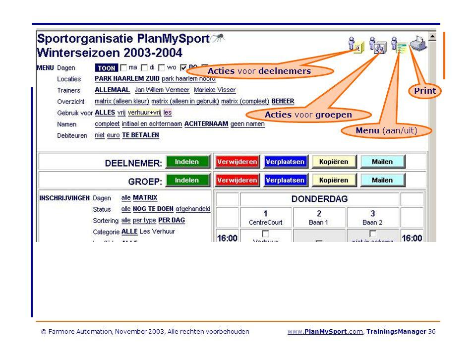 © Farmore Automation, November 2003, Alle rechten voorbehoudenwww.PlanMySport.com, TrainingsManager 36 Acties voor deelnemers Acties voor groepen Menu (aan/uit) Print