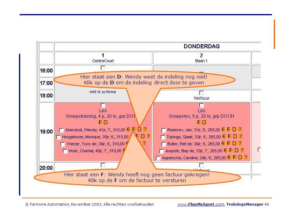 © Farmore Automation, November 2003, Alle rechten voorbehoudenwww.PlanMySport.com, TrainingsManager 46 Hier staat een D: Wendy weet de indeling nog niet.