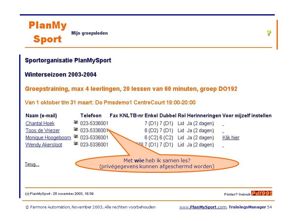 © Farmore Automation, November 2003, Alle rechten voorbehoudenwww.PlanMySport.com, TrainingsManager 54 Met wie heb ik samen les.