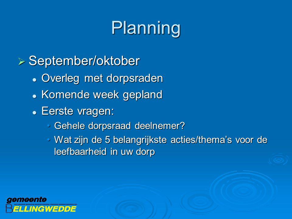 Planning  September/oktober Overleg met dorpsraden Overleg met dorpsraden Komende week gepland Komende week gepland Eerste vragen: Eerste vragen: Geh