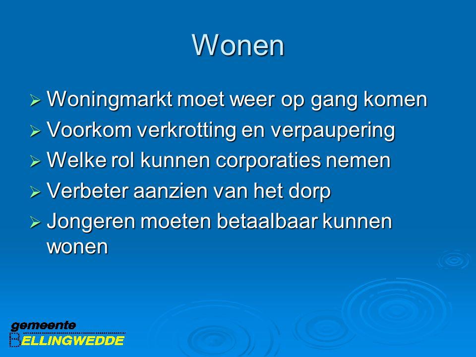 Wonen  Woningmarkt moet weer op gang komen  Voorkom verkrotting en verpaupering  Welke rol kunnen corporaties nemen  Verbeter aanzien van het dorp  Jongeren moeten betaalbaar kunnen wonen