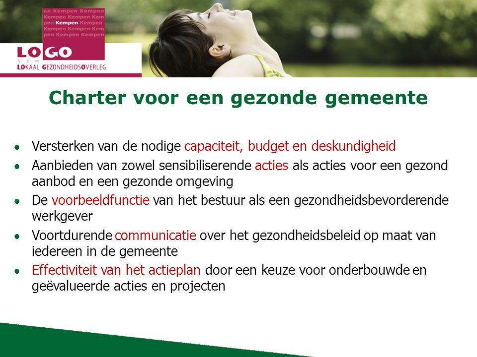 Charter voor een gezonde gemeente  Versterken van de nodige capaciteit, budget en deskundigheid  Aanbieden van zowel sensibiliserende acties als acties voor een gezond aanbod en een gezonde omgeving  De voorbeeldfunctie van het bestuur als een gezondheidsbevorderende werkgever  Voortdurende communicatie over het gezondheidsbeleid op maat van iedereen in de gemeente  Effectiviteit van het actieplan door een keuze voor onderbouwde en geëvalueerde acties en projecten