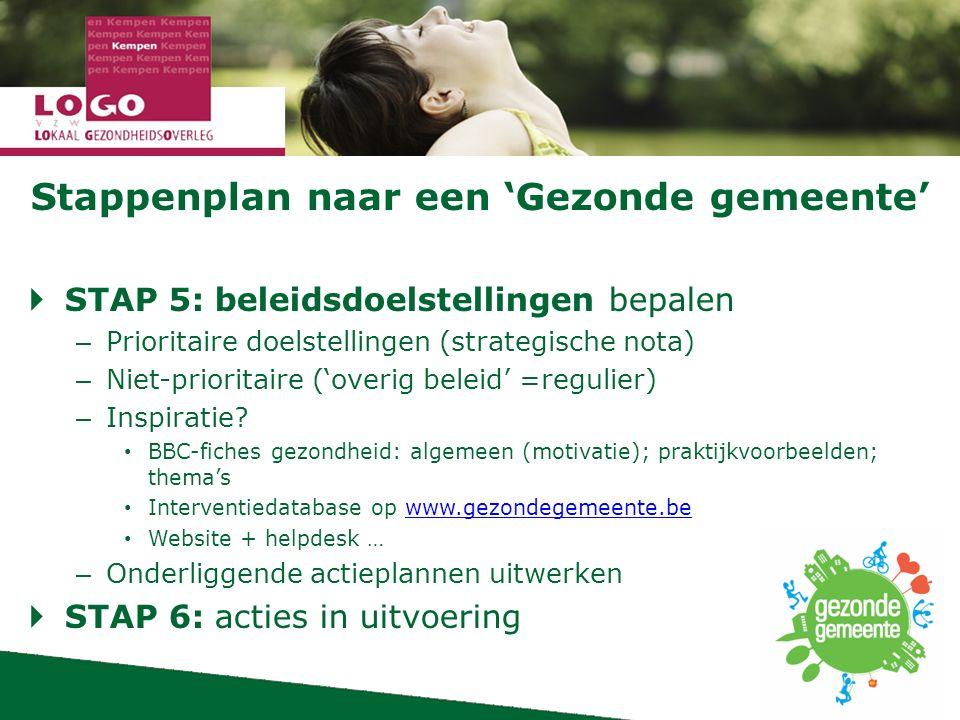 Stappenplan naar een 'Gezonde gemeente'  STAP 5: beleidsdoelstellingen bepalen – Prioritaire doelstellingen (strategische nota) – Niet-prioritaire ('overig beleid' =regulier) – Inspiratie.