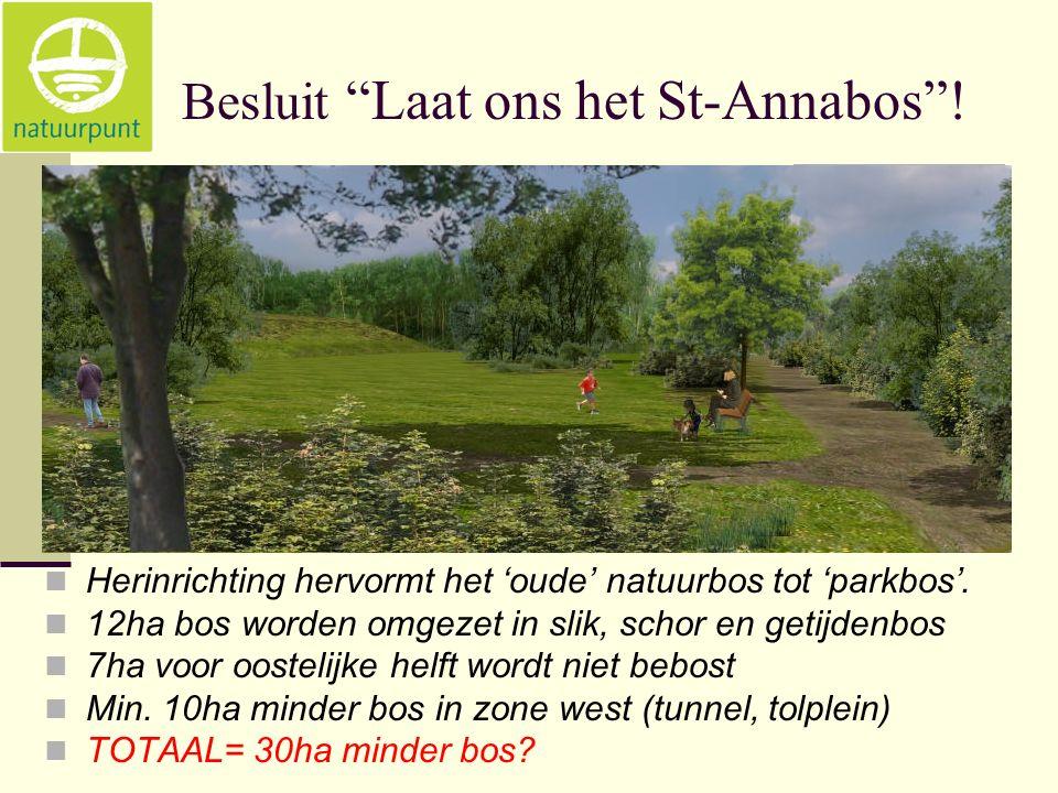 Besluit Laat ons het St-Annabos . Herinrichting hervormt het 'oude' natuurbos tot 'parkbos'.